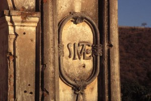 Cathedral bullet holes, Alamos, Sonora, mexico. Photo by Anders Tomlinson.
