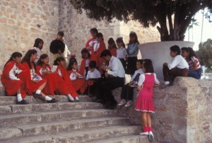 Youth choir practicing on the steps of Bishop Reyes Cathedral, Alamos, Sonora, Mexico. photo by Anders Tomlinson.