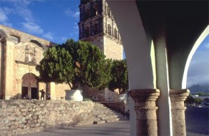 Bishop Reyes Cathedral from Calle Commercio. Alamos, Sonora, Mexico. Photo by Anders Tomnlinson.