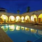 Pool area at Casa de los Santos, 1992, Alamos, Sonora, Mexico. Photo by Gary Ruble.