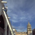 repair work on ladder of the Bishop's Mansion, Alamos-Sonora-Mexico. Photo by Anders Tomlinson.