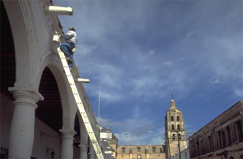 repair work on ladder of the Bishops Mansion, Alamos-Sonora-Mexico.  Photo by Anders Tomlinson.