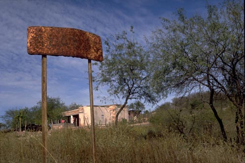 Old sign on the sotheastern entrance to Alamos, Sonora, Mexico.  Photo by Anders Tomlinson.
