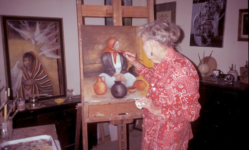Margo Findlay at her easel, Alamos, Sonora, Mexico.  Photo by Anders Tomlinson.