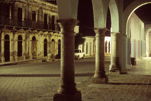 Calle Comercio at night, Alamos, Sonora, Mexico.  Photo by Anders Tomlinson.