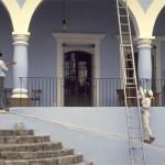 hotel los portales front steps, alamos sonora mexico.. photo by anders tomlinson.