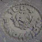 1684 history medallion, Escuela Paulito Verjan, Alamos, Sonora, Mexico. Photo by Anders Tomlinson.