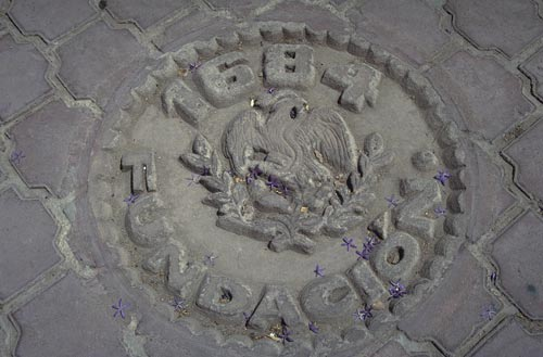 1684 history medallion, Escuela Paulito Verjan, Alamos, Sonora, Mexico.  Photo by Anders Tomlinson.