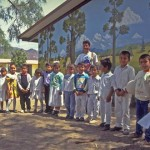 Tebeto with school kids and his mural, Alamos, Sonora, Mexico.