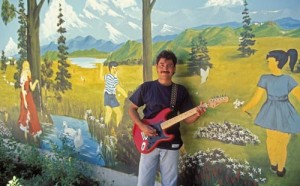 tebeto with playground mural and guitar, Alamos, Sonora, Mexico. Photo by Anders Tomlinson.