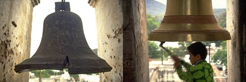 two church bells at bishop reyes cathedral, Alamos, Sonora, Mexico.  Photos Gary Ruble and Anders Tomlinson.