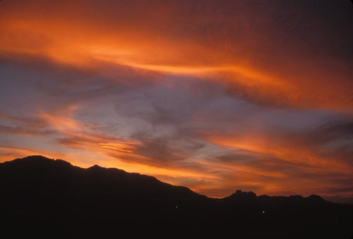 Looking southwest towards Mt. Alamos and Cerra Cacharamba at sunset, Alamos, Sonora, Mexico.  Photo by Anders Tomlinson.