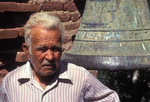 Caretaker and bell at Aduana church, near Alamos, Sonora, Mexico. Photo by Anders Tomlinson