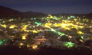 Alamos at night from El Mirador, Alamos, Sonora, mexico. Photo by Anders Tomlinson.