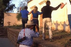 Kit Nuzum videos crew creating shadow dance, Alamos, Sonora, Mexico. Photo by Anders Tomlinson