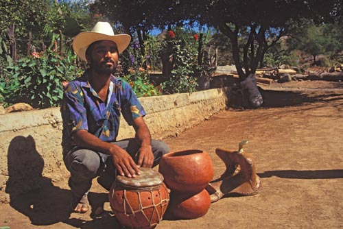 Drum maker Eusevio Cortez, Alamos, Sonora, Mexico. Photo by Anders Tomlinson.