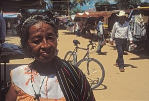 Indian woman in open air market, Alamos, Sonora, Mexico.