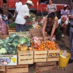 Produce stall at open air Sunday market, Alamos, Sonora, Mexico. Photo by Anders Tomlinson.