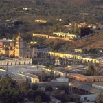 Plaza and Cathedral lit by sunrise, Alamos, Sonora, Mexico. Photo by Anders Tomlinson.
