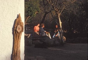 """Drinking beer in the late afternoon outside El Pedregal""""s strawbale house, Alamos, Sonora, Mexico. Photo by Anders Tomlinson."""