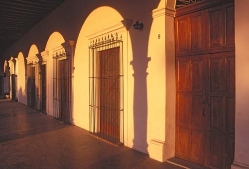 Sunrise on the a wall in the Plaza, Alamos, Sonora, Mexico.  Photo by Anders Tomlinson.