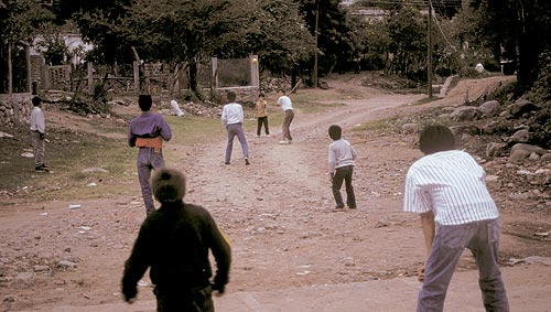 Baseball in the streets of Barrio Barranca, Alamos, Sonora, Mexico.  Photo by Anders Tomlinson.