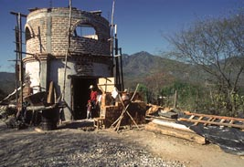 Chacho Valdez stands in front of his new home under construction, Alamos Sonora Mexico. Photo by Anders Tomlinson