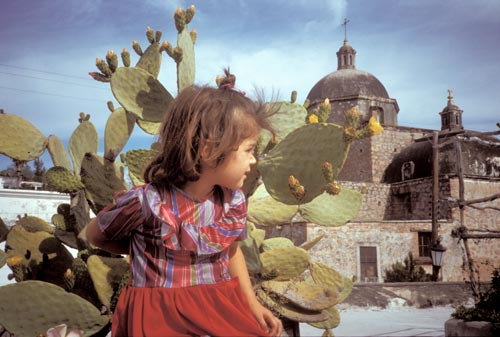 Christina Vega and church from Nuzum roof, alamos, Sonora, Mexico.  Photo by Anders Tomlinson.
