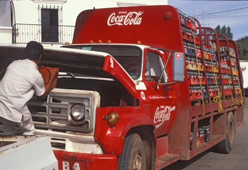Coca-cola truck gets water in Alamos, Sonora, Mexico.  Photo by Anders Tomlinson.