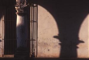 Column and shadow on Calle Comercio, Alamos, Sonora, Mexico. Photo by Anders Tomlinson