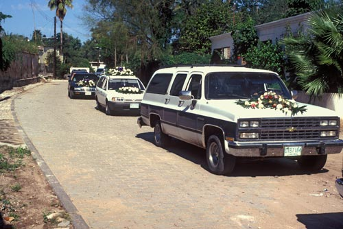 Funeral procession approaches the cemetery, Alamos, Sonora, Mexico.  Photo by Anders Tomlinson.