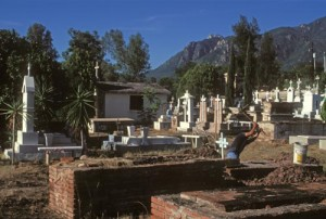 Grave Digger in Alamos, Sonora, Mexico graveyard. Photo by Anders Tomlinson.