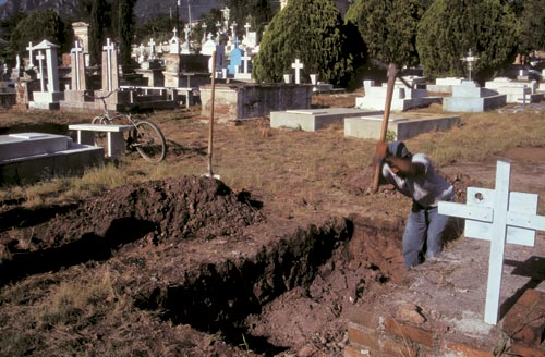 A fresh grave is being dug, Alamos, Sonora, Mexico.  Photo by Anders Tomlinson.