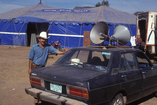 Profesor and his promotion car with loudspeakers, Alamos, Sonora, Mexico.  Photo by Anders Tomlinson.