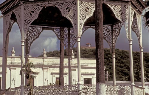 Mirador and the ols Alamos Hotel are seen through the Plaza's gazebo in Alamos, Sonora, Mexico.  Photo by Anders Tomlinson.