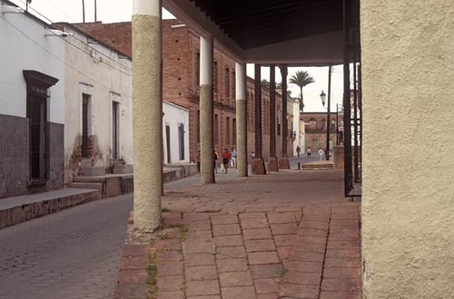 Calle Rosales looking west, Alamos, Sonora, Mexico.  Photo by Anders Tomlinson.