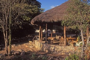 Looking from the south at the Pedregal's Palapa and the Straw bale studio in the background, Alamos, Sonora, Mexico. Photo by Anders Tomlinson.