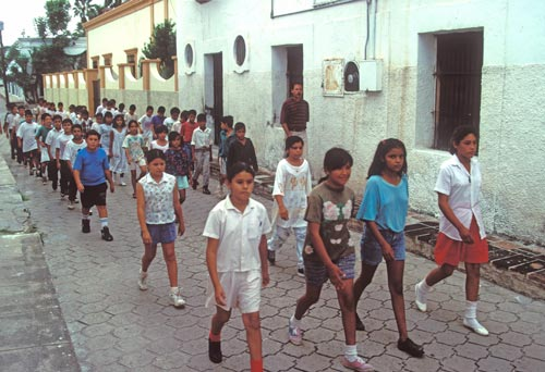 School classes practicing for the Independence Day parade, Alamos, Sonora, Mexico.  Photo by Anders Tomlinson.