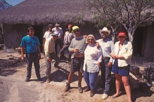 Elizabeth Nuzum and her son Kit with the construction team and the Friedlobs, Alamos, Sonora, Mexico. Photo by Anders Tomlinson.