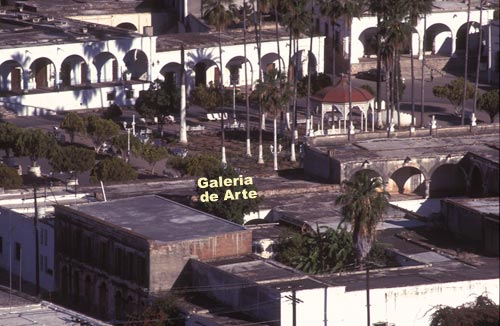 View of plaza from El Mirador.  Location of Galeria de Arte is noted.  Alamos, Sonora, Mexico.  Photo by Anders Tomlinson.
