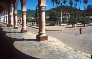 Looking northeast at the Plaza from the Hotel Los Portales, Alamos, Sonora, Mexico. Photo by Anders Tomlinson