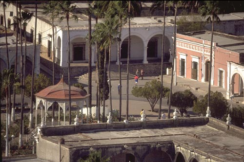 Plaza de Las Armas seen from Mirador, Alamos, Sonora, Mexico.  Photo by Anders Tomlinson.
