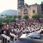 School kids in formation take a pledge in the Plaza, Alamos, Sonora, Mexico. Photo by Anders Tomlinson.