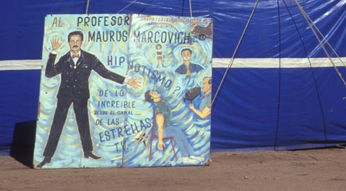 Poster board for the traveling show, Alamos, Sonora, Mexico.  Photo by Anders Tomlinson.,