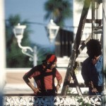 restoration work on the Kiosk in Plaza de Las Armas, Alamos, Sonora, Mexico.