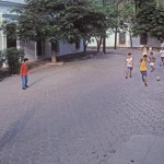 Playing soccer on a tree lined street, Alamos, Sonora, Mexico. Photo by Anders Tomlinson.