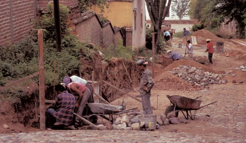 Digging a trench on Guadalupe Hill to replace a waterline. Alamos, Sonora, Mexico.  Photo by Anders Tomlinson.