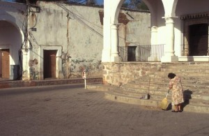 Cleaning steps to the Bours mansion on Plaza de las Armas in Alamos, Sonora, Mexico. Photo by Anders Tomlinson.