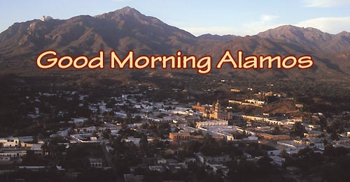 View of Alamos at sunrise from red Cross Hill, Alamos, Sonora, Mexico, Photo by Anders Tomlinson.