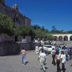 the body is arriving at Bishop Reye's Cathedral, Alamos, Sonora, Mexico. Photo by Anders Tomlinson.